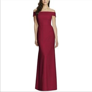 DESSY COLLECTION Off Shoulder Trumpet Gown MAROON